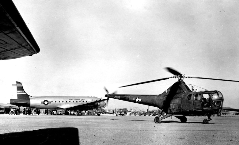 Aeromedical evacuation duo: The C-54 and the H-5. (U.S. Air Force photo)