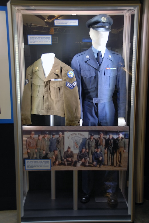 """DAYTON, Ohio -- """"Army Green to Air Force Blue"""" exhibit in the Korean War Gallery at the National Museum of the United States Air Force. (U.S. Air Force photo)"""