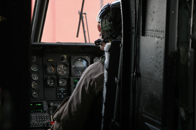 Major General Raymond C. Fox pilots a CH-46E Sea Knight Monday during his final flight as the commanding general of 1st Marine Aircraft Wing.
