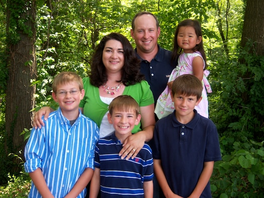 SCOTT AIR FORCE BASE, Ill. -- The Grove family—Caleb, Camden, Cody, Christa, Stephen, and Caitlyn.  Christa and Stephen Grove adopted Caitlyn in 2008. (Courtesy Photo)