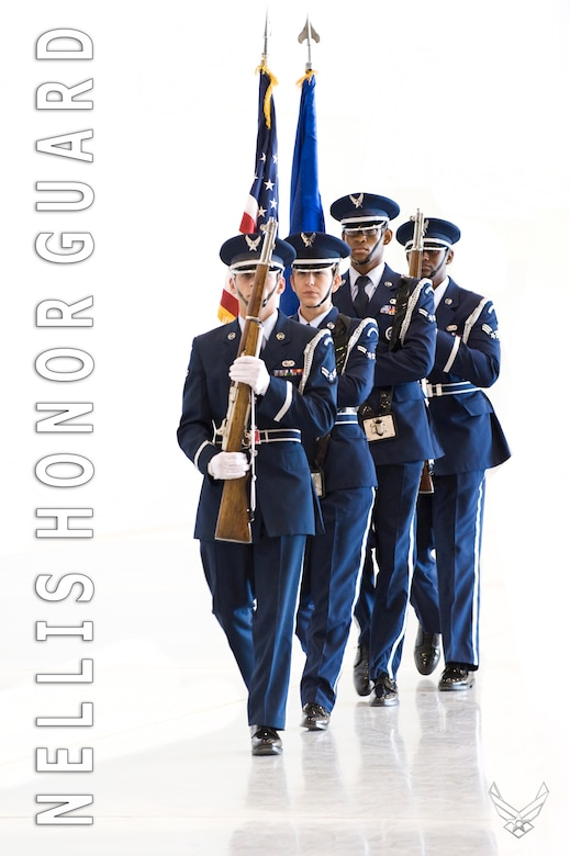 CREECH AIR FORCE BASE, Nev. - The Nellis Honor Guard presents the colors during the 15th Reconnaissance Squadron change of command at Creech Air Force Base on May 15, 2010. (U.S. Air Force Photo and Illustration / Lawrence Crespo)