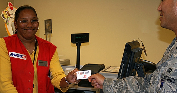 DALLAS - While only authorized military shoppers can redeem AAFES gift cards, any American can send them by simply calling 800-527-2345 or logging on to www.aafes.org and clicking ?Gift Cards/Certificates for Our Troops? icon. (Courtesy photo/AAFES)