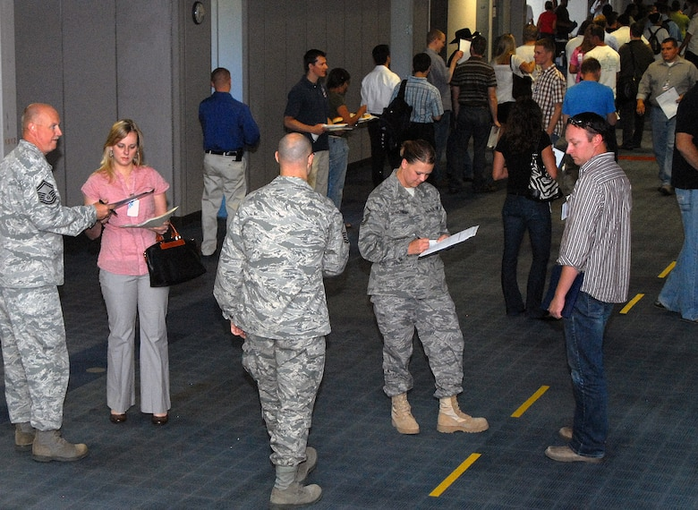 More than 170 men and women participated in the Individual Ready Reserve muster at the Air Reserve Personnel Center on June 18. ARPC holds one muster annually and will manage 20 musters at Air Force bases nationwide in 2010. (U.S. Air Force photo/Dwayne Beuthel)