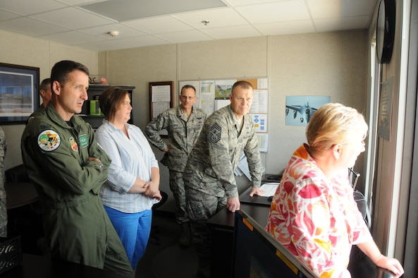 Chief Master Sergeant of the Air Force James A. Roy talks with Vice Wing Commander of the 180th Fighter Wing Colonel Steven Nordhaus while touring the 180th Fighter Wing in Toledo, Ohio June 17, 2010. USAF by SSgt Jodi Leininger (Released)
