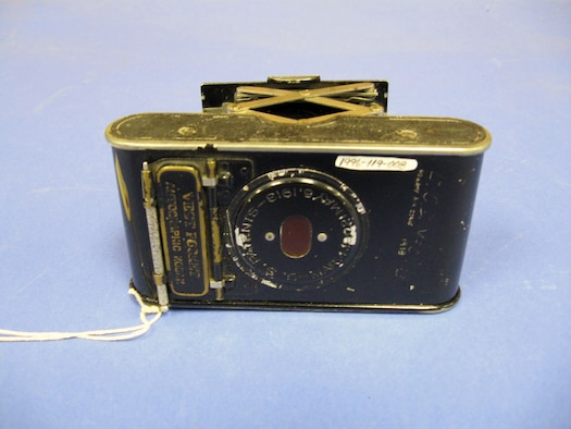 This camera belonged to Carroll DeWitt McClung, who was a pilot in the Air Service with the American Expeditionary Forces in France during World War I. He was a first lieutenant with the 28th Aero Squadron, 3rd Pursuit Group, and was discharged in 1920. He trained in Nieuport aircraft and flew the SPAD aircraft in combat. (U.S. Air Force photo)