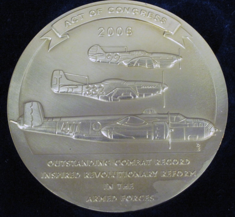 On March 29, 2007, approximately 350 Tuskegee Airmen (or their widows) received the Congressional Gold Medal for their bravery during World War II. The original is at the Smithsonian. This one is one of the bronze replicas given to the individual recipients. (U.S. Air Force photo)
