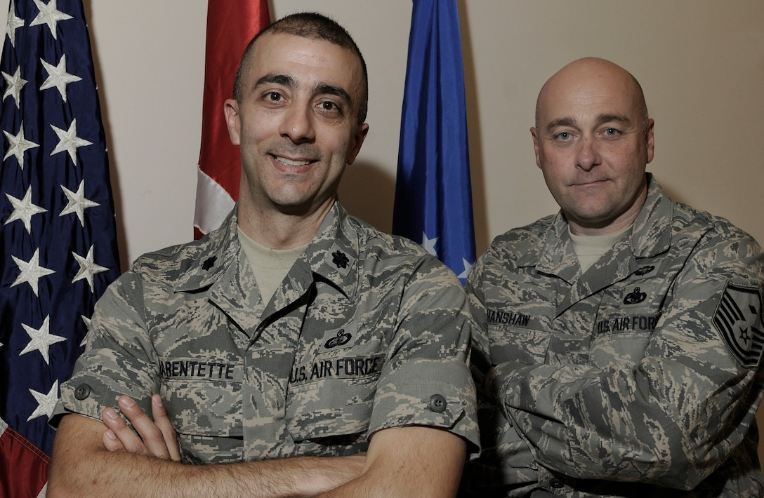 Lt. Col. Kenneth Marentette, 425th Air Base Squadron commander, stands with Master Sgt. Anthony Hanshaw, 425th  ABS First Sergeant Thursday June 10, 2010 at Izmir, Turkey. Colonel Marentette and Sergeant Hanshaw are in charge of nearly 100  Airmen stationed at the unit. Airmen in Izmir are geographically separated but still continuously provide support to each other and the overall mission. The 425th ABS provides world class mission support to U.S. personnel at NATO command Air Izmir, the Office of Defense Cooperation, and the U.S. embassy, as well as administers the Çigli Air Base turnover agreement. (U.S. Air Force photo/Senior Airman Alexandre Montes)