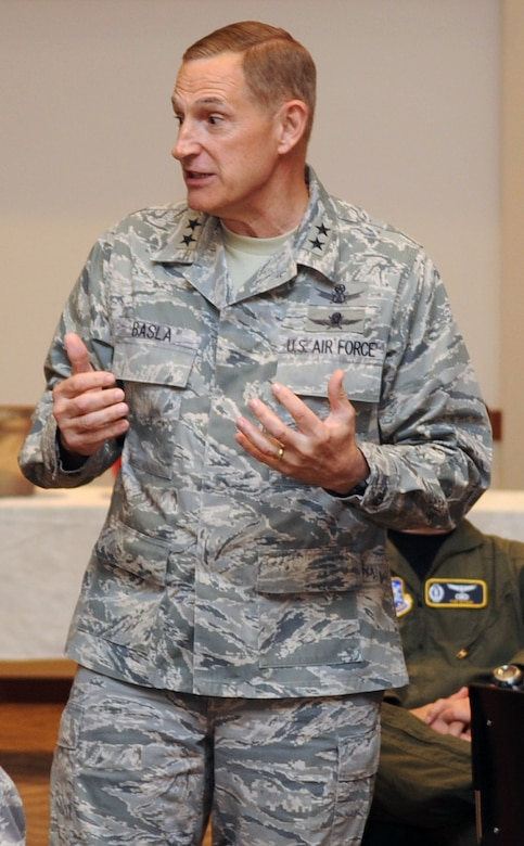 BUCKLEY AIR FORCE BASE, Colo. -- Maj. Gen. Michael Basla, Air Force Space Command vice commander, speaks to a room full of officers and senior enlisted Airmen during his visit to Buckley June 4. (U.S. Air Force photo by Airman 1st Class Manisha Vasquez)