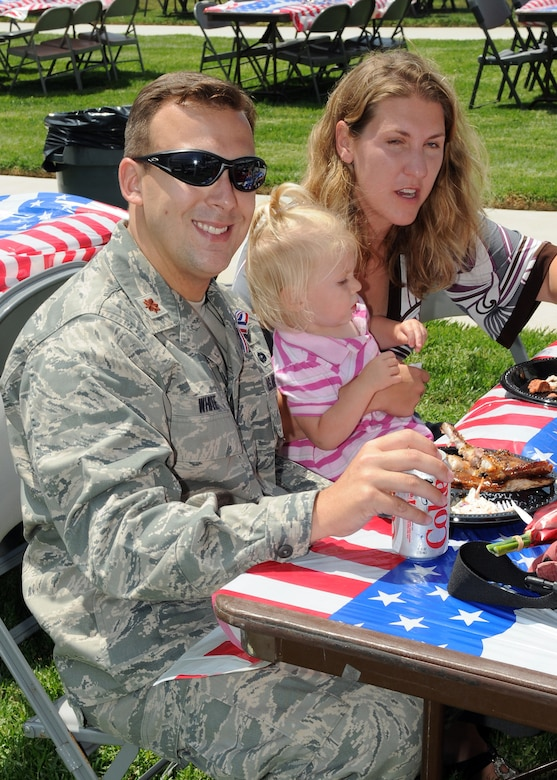 Military members recently returning from deployments and their families were treated to an old-fashioned barbeque following the Welcome Home ceremony, June 23. (Photo by Jim Gordon)