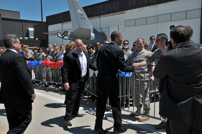 President Barack Obama shakes hands with members of the 128th Air Refueling Wing, Wisconsin Air National Guard and thanked them for their service to their country June 30, 2010.  The President landed at the 128th in route  to a town hall meeting in Racine Wisconsin. (U.S. Air Force Photo by SMSgt Jeff Rohloff/released)