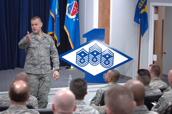 Chief Master Sgt. of the Air Force James A. Roy speaks to the staff, faculty and students of the Air Force First Sergeants Academy during his visit Feb. 23, 2010, to Maxwell-Gunter Air Force Base, Ala. (U.S. Air Force photo/Melanie Rodgers-Cox)