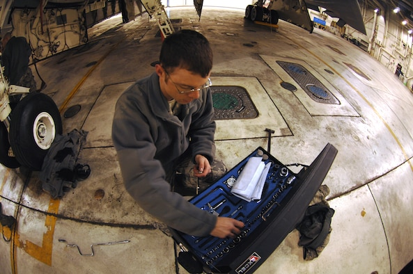 WHITEMAN AIR FORCE BASE, Mo. - Senior Airman Tony Todaro, 509th Maintenance Squadron Aero repair technician, takes inventory of tools following maintenance on a B-2 Spirit Feb. 26, 2010. Taking inventory of tools before, during and after a maintenance job helps prevent foreign object damage and debris. (U.S. Air Force photo/Senior Airman Jessica Snow)