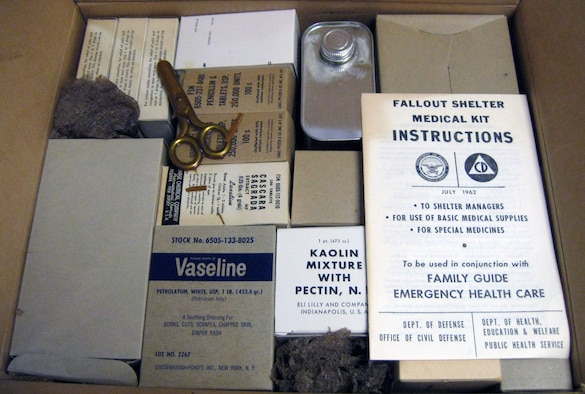 This kit's contents were found in the attic of the Senate Office Building. The medical kit contains a checklist for the kit, manuals on how to use the kit, containers, boxes, bottle of medicine and medical supplies. (U.S. Air Force photo)