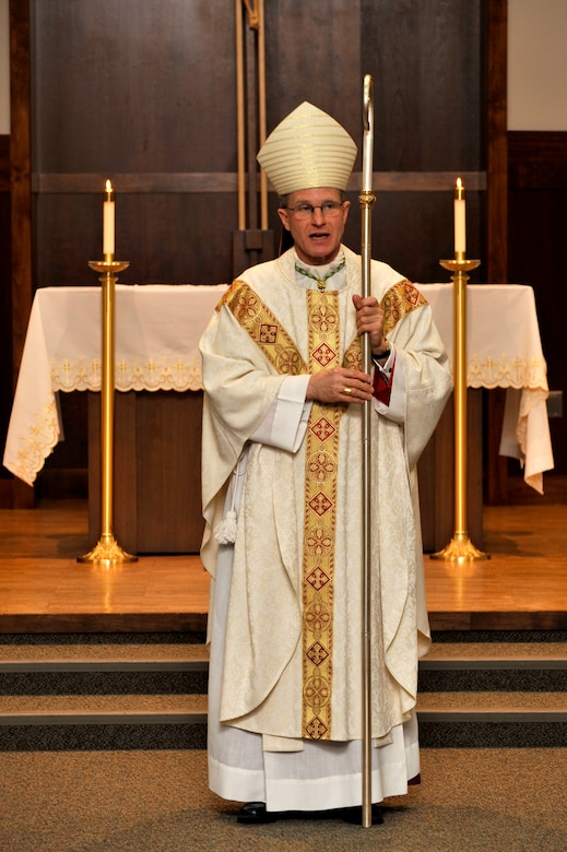 BUCKLEY AIR FORCE BASE, Colo. -- Archbishop Timothy Broglio officiates over a sacrament of confession service Feb. 23 at the Buckley Chapel. Archbishop Broglio is the Roman Catholic Archbishop for the Military Services of the United States and is responsible for coordinating pastoral and spiritual services for all Catholics serving in the U.S. Armed Forces or other federal services overseas. (U.S. Air Force photo by Airman 1st Class Paul Labbe)