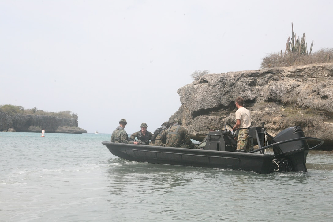 Marines and sailors with Force Reconnaissance Company, II MEF join members of the Royal Netherlands Marine Corps for bilateral amphibious reconnaissance training, March 2, 2010.  The company will be conducting bilateral training for the remainder of the month aboard Camp Suffisant, Curacao, with support from the Royal Netherlands Marine Corps.