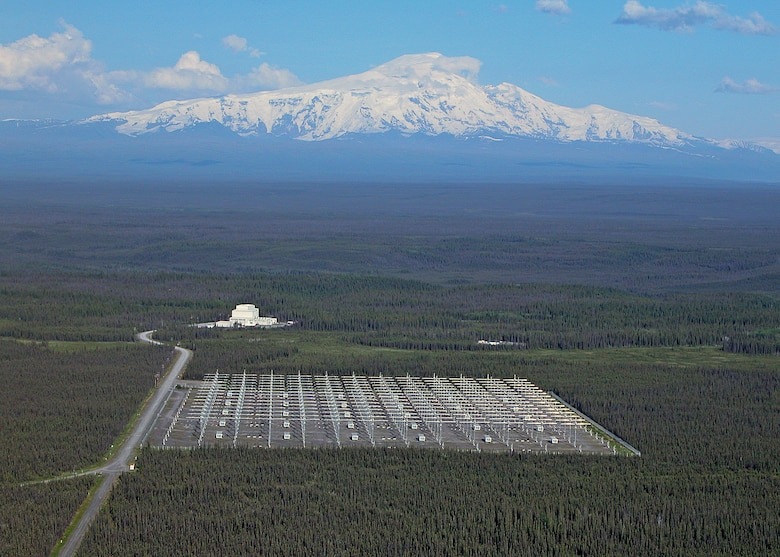 The High Frequency Active Auroral Research Program site, Gakona, Alaska, is pictured with Mount Wrangell in the background.U.S. Air Force photograph