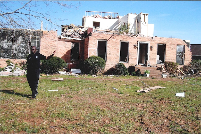 This is all that was left of AEDC employee Art Fuller's house after the April 10, 2009 tornado. Fuller's wife Debra was hiding in the upstairs part of the house during the storm – this is all that was left of that portion of the house. (Photo provided)