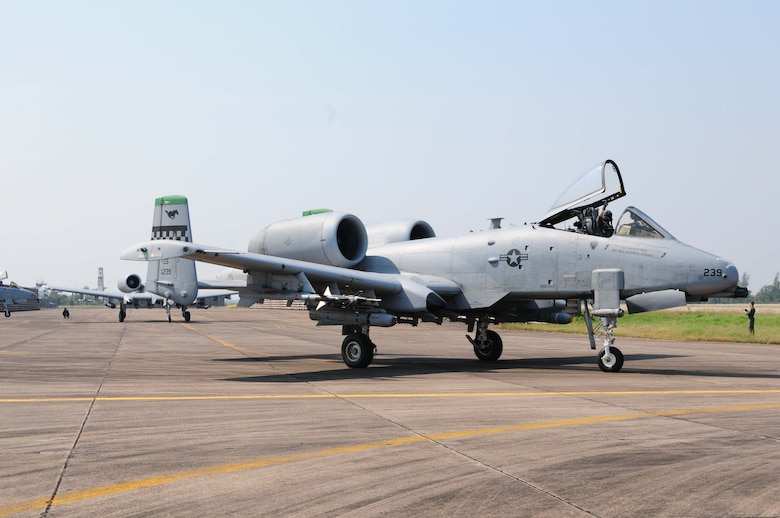 An A-10 Thunderbolt II taxis on the runway at Udon Thani Royal Thai Air Force Base, Thailand, on March 4 as part of Cope Tiger 2010.  Cope Tiger is an annual, multilateral field training exercise involving the U.S. Air Force, Royal Thai Air Force and Army, and the Republic of Singapore Air Force March 1-12.  (U.S. Air Force photo/Capt. Genieve David)