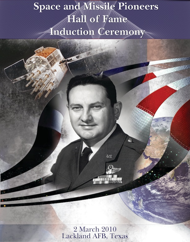 LACKLAND AIR FORCE BASE, Texas - The program cover of the 24th Air Force-led ceremony to induct Col. (Dr.) Francis X. Kane, president of San Antonio's Schriever Institute, into the Air Force Space and Missile Pioneers Hall of Fame located at Peterson Air Force Base, Colo., March 2 here. The ceremony was conducted by 24th Air Force on behalf of Air Force Space Command in Colonel Kane's hometown of San Antonio. The colonel is the fiftieth inductee to the Hall of Fame for his lifetime contributions to the Air Force Space Program, including leadership of the program to develop a navigation satellite system that would eventually become GPS. (U.S. Air