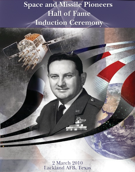 LACKLAND AIR FORCE BASE, Texas - The program cover of the 24th Air Force-led ceremony to induct Col. (Dr.) Francis X. Kane, president of San Antonio's Schriever Institute, into the Air Force Space and Missile Pioneers Hall of Fame located at Peterson Air Force Base, Colo., March 2 here. The ceremony was conducted by 24th Air Force on behalf of Air Force Space Command in Colonel Kane's hometown of San Antonio. The colonel is the fiftieth inductee to the Hall of Fame for his lifetime contributions to the Air Force Space Program, including leadership of the program to develop a navigation satellite system that would eventually become GPS. (U.S. Air Force Graphic/Sharon Singleton)