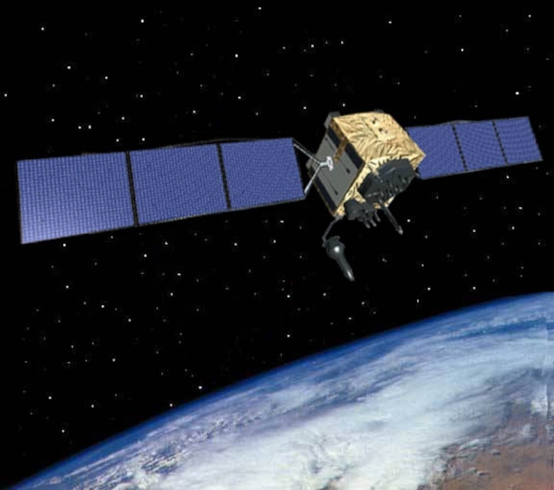 The Global Positioning System IIF satellite, developed and built by Boeing, is the next generation of GPS space vehicle.  (U.S. Air Force graphic)