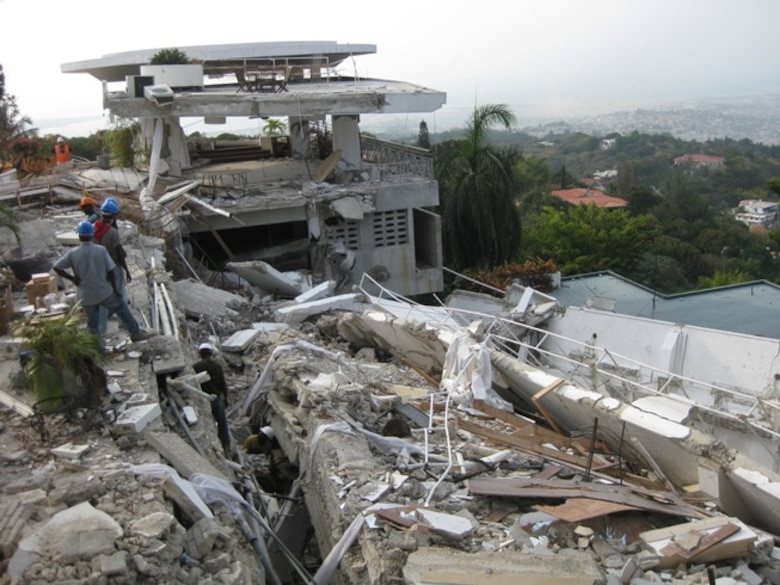 One of the buildings is seen that crumbled to piles of rock and debris after the devastating 7.0 earthquake hit on Jan. 12, 2010, in Haiti, taking the lives of more than 200,000 people. (Photo courtesy of TSgt. Bambi Putinas)