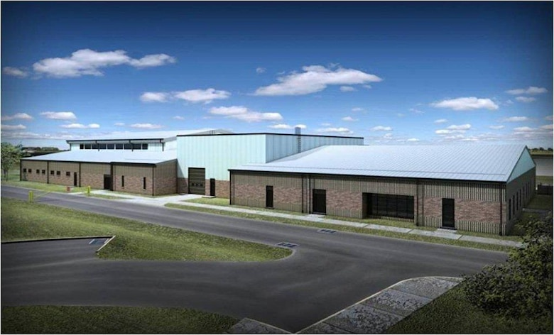 An artist's rendering from the contracted architect, Benham Companies LLC, shows the Centralized Intermediate Repair Facility at the Bradley Air National Guard Base after upgrades and additional construction is completed.