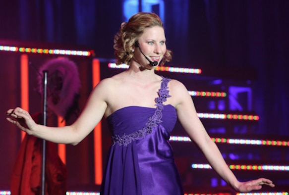 LACKLAND AFB, Texas - Tech. Sgt. Katie Badowski showcases her vocal talents performing at the Bob Hope Performing Arts Center.  Contestants auditioned for the 2010 Air Force Worldwide Talent Search Jan. 17-25. (U.S. Air Force photo/Maj. Chris Burch)