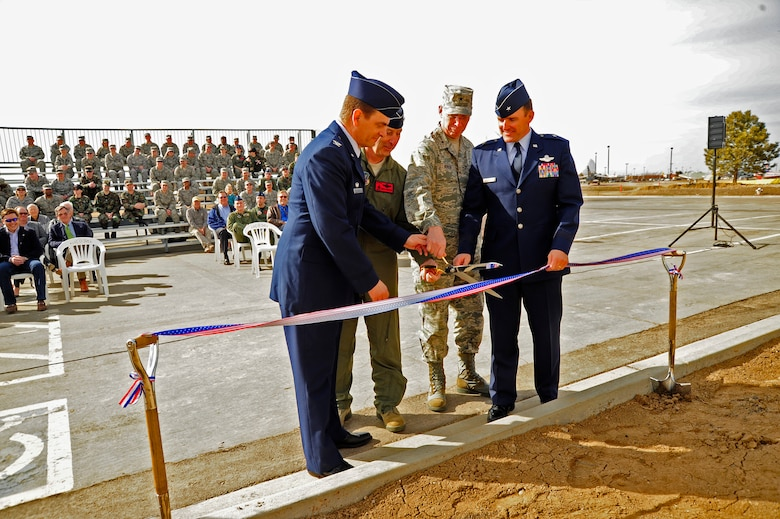 (From left to right) Colonel Mike Loh, 140th Operations Group Commander, Maj. Gen. H. Michael Edwards, Colorado Adjutant General, Brig. Gen. William Hudson, Colorado Air National Guard Commander and Brig. Gen. Trulan Eyre, 140th Wing Commander cut the ribbon and officially open the new 140th Operations Group building March 6.