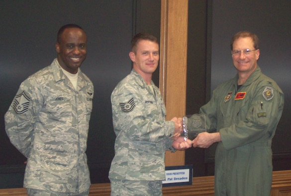 Tech. Sgt. Hoffman (center), an avionics systems craftsman with the 84th Test and Evaluation Squadron, is awarded the 926th Group's 2009 Non-commissioned Officer of the Half by Col. Brunke (right), 926th GP commander, and Senior Master Sgt. Jones, 926th GP superintendent, at Eglin Air Force Base, Fla., on March 3. (U.S. Air Force Reserve photo/Master Sgt. Marcia Evans)