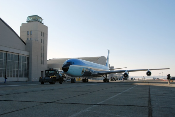 DAYTON, Ohio (03/2010) - Restoration specialists tow SAM 26000 from the restoration hangar to the Presidential Gallery at the National Museum of the U.S. Air Force. (U.S. Air Force photo)