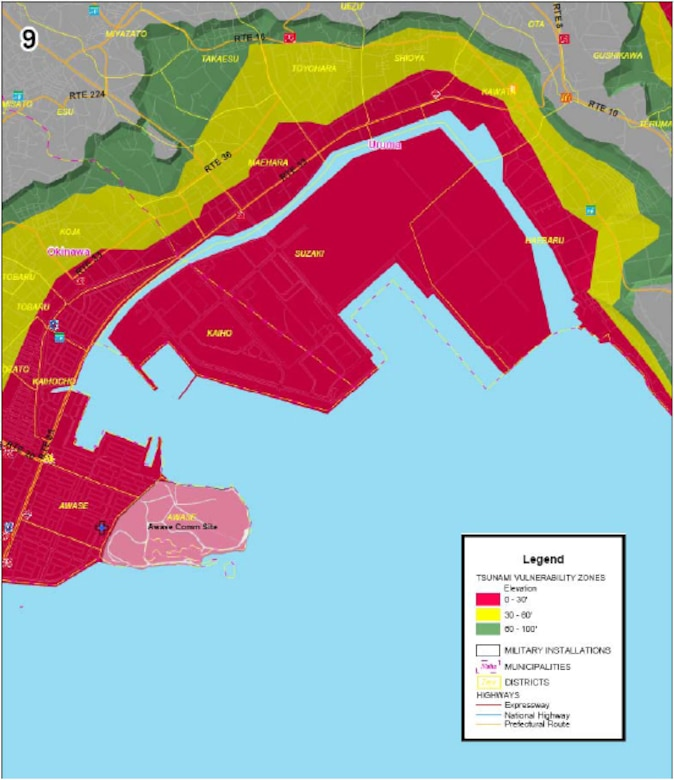 Area 9 of tsunami threat areas for military installations on Okinawa. Red areas are below 30 feet in elevation, yellow is below 60 feet and green is 100 feet or less. (Courtesy graphic)