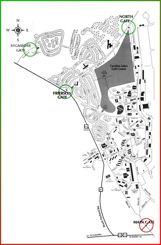 Shaw AFB Gate Closure map