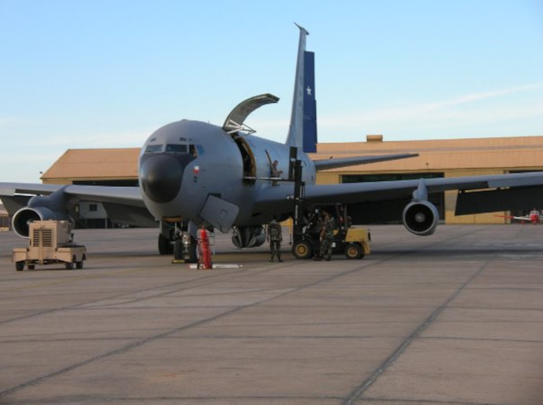 """The first Chilean KC-135 """"E"""" model arrives in Santiago in February 2010. Crews from Sheppard Air Force Base and the Utah Air National Guard helped deliver the first of three U.S. KC-135E aircraft acquired by the Chilean Air Force. Members of the 151st Air Refueling Wing deployed to Chile to help provide operations and maintenance training to the Chilean AF on the aircraft, but the training quickly transformed into a real-world humanitarian operation after the 8.8-magnitude earthquake hit the country. Aircrews have been transporting critical medical equipment and supplies throughout the country. U.S. Air Force photo by Lt. Col. Boyd Badali"""