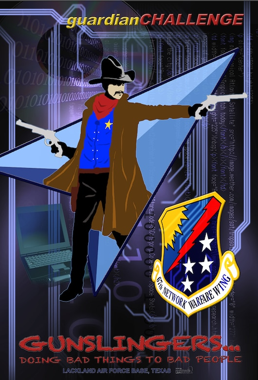 The 67th Network Warfare Wing Gunslinger is the wing's mascot. The Gunslinger represents the spirit and tenacity of the wing's personnel through his parallels with the wing shield: a star on his chest, like the shield stars, to represent the mission of network attack, exploitation, defense, and operations performed by cyberspace warriors to defeat adversaries; a dark blue shirt, like the dark blue field, to symbolize the shroud of secrecy that surrounds a cyberspace adversary; and a red scarf, the lightening bolt, to represent the applied speed, strength, power, and precision of Air Force network warfare. The Gunslinger's lifelong mission has been and will be to deny adversaries the use of cyberspace while maximizing Air Force use of the net: Lux Ex Tenebris (Light from Darkness). (U.S. Air Force Graphic/Vincent Childress)