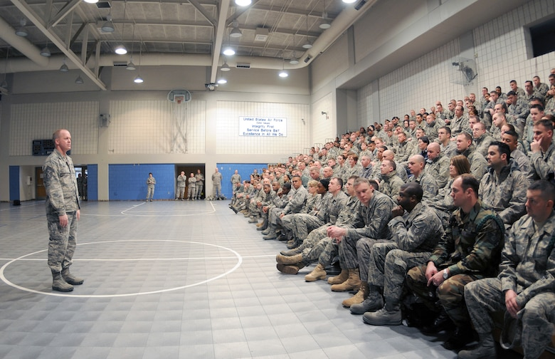 McGHEE TYSON AIR NATIONAL GUARD BASE, Tenn. -- Air National Guard Command Chief Master Sgt. Chris Muncy addresses more than 260 service members attending the Noncommissioned Officer Academy Class 10-4 and the Airman Leadership School Class 10-2 at The I.G. Brown Air National Guard Training and Education Center here, March 3, 2010. (U.S. Air Force photo by Master Sgt. Kurt Skoglund/Released)