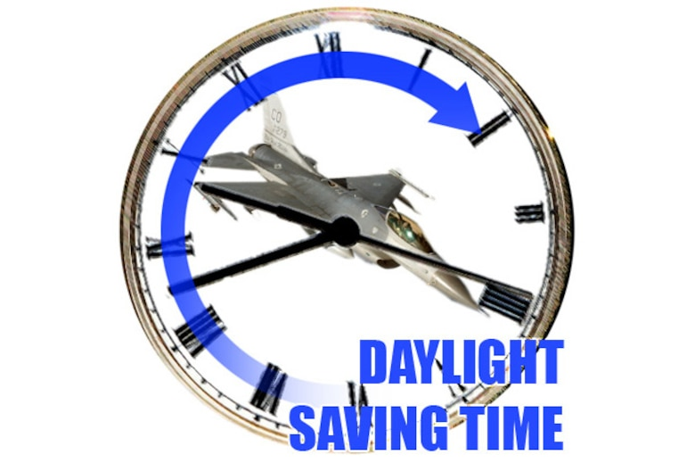 Team Buckley members are reminded to set clocks forward by one hour March 14 for Daylight Saving Time (U.S. Air Force photo illustration by Senior Airman Stephen Musal)