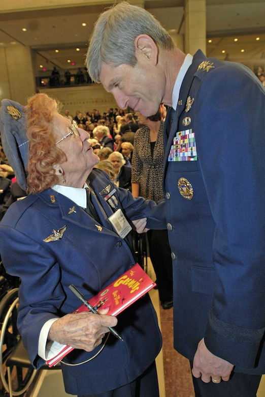 Betty Wall Strohfus, a Women Airforce Service Pilot from Minnesota, talks with Air Force Chief of Staff Gen. Norton Schwartz at the Congressional Gold Medal ceremony at the Capitol March 10, 2010. More than 200 WASPs attended the event, many of them wearing their World War II-era uniforms. The audience, which Speaker Nancy Pelosi noted was one of the largest ever in the Capitol and too large to fit into Emancipation Hall, also included their families, as well as the families of those who have since died or couldn't travel. (U.S. Air Force photo/Staff Sgt. J.G. Buzanowski)