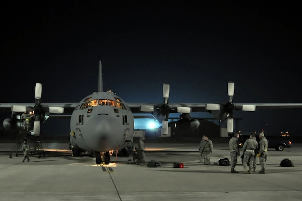 Crew chiefs and aircraft mechanics from Air Force Reserve Command's 910th Airlift Wing, Youngstown Air Reserve Station, Ohio, perform a basic post-flight inspection on a wing C-130H Hercules transport aircraft while deployed to Ramstein Air Base, Germany, Oct. 20, 2009. AFRC received the 2009 Gen. Wilbur L. Creech Maintenance Excellence Award in part because of improved aircraft inspections. (U.S. Air Force photo/Master Sgt. Bob Barko Jr.)