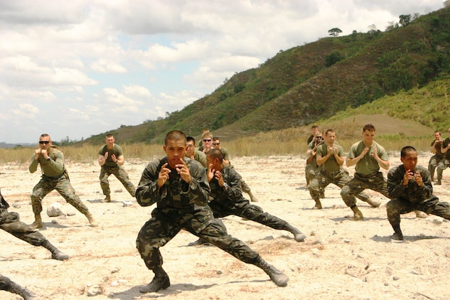 Republic of the Philippines Marines and U.S. Marines with Battalion Landing Team 2nd Battalion, 7th Marines (BLT 2/7), 31st Marine Expeditionary Unit (MEU), conducted a Philippine Martial Arts Program class, March 13.  The martial arts class was part of bilateral training being conducted during exercise Balikatan 2010 (BK '10). (Official Marine Corps photo by Cpl. Michael A. Bianco)
