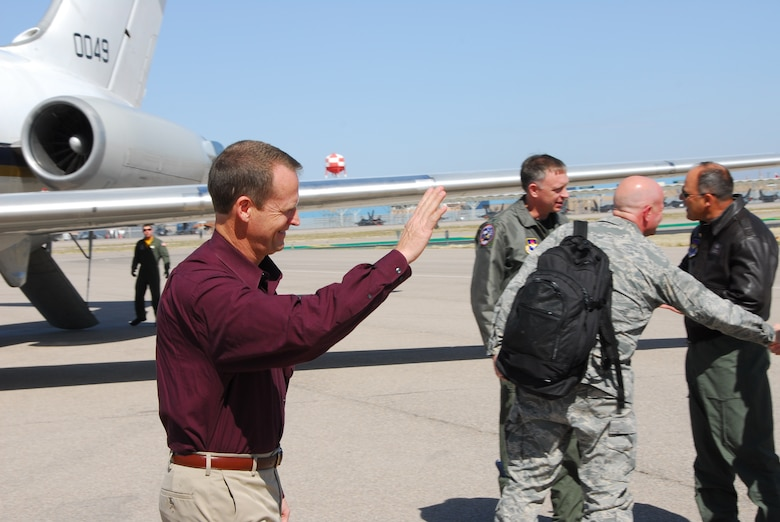 Lt. Col. (ret) Darrin Middleton, from the inspection team operations branch, arrives on the flightline at Tucson International Airport, March 10. Colonel Middleton and an inspection team from Air Education and Training Command visited the Arizona Air Guard fighter wing for a compliance inspection this month.