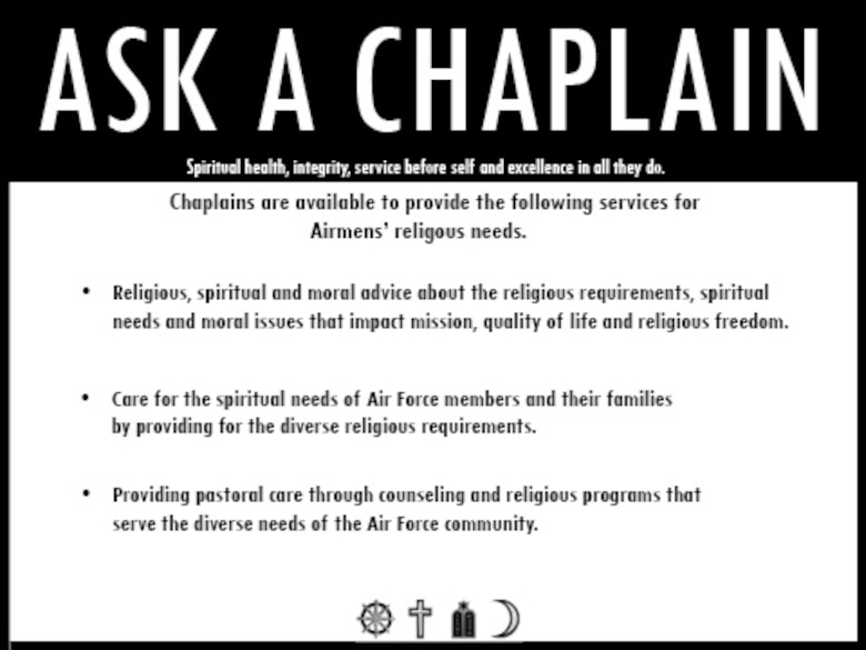 MOODY AIR FORCE BASE, Ga. -- Along with the personal services provided by chaplains, the Base Chapel also provides many other programs available to help Airmen maintain spiritual well-being. These include weekly religious services, marriage retreats, monthly Airman's Tier Ministry dinners, Bible studies and Sunday school. (U.S. Air Force illustration by Airman 1st Class Joshua Green)