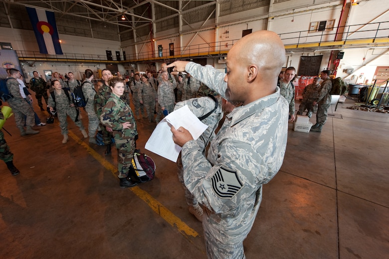 """U.S. Air Force Master Sgt. Anthony Cook, First Sergeant for the Colorado Air National Guard's 140th Medical Group at Buckley Air Force Base, conducts a final roll-call in preparation for the groups departure to Honolulu, March 13, 2010. Cook is part of a more than 60-person team supporting E Malama Kakou (translated from Hawaiian as """"to care for all"""") an Innovative Readiness Training Program providing service to medically underserved communities within the State of Hawaii. (U.S. Air Force photo/Master Sgt. John Nimmo, Sr.) (RELEASED)"""
