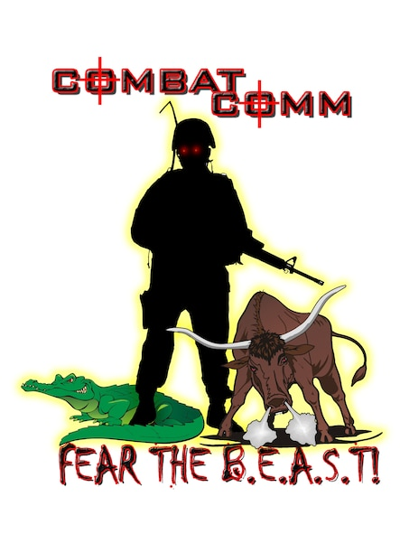 The 689th Combat Communications Wing B.E.A.S.T. is the wing's mascot. The B.E.A.S.T. represents the personnel of the 689th CCW, what they do, and what they believe: Bravery, Expeditionary Excellence, Attitude, Standards, and Teamwork. The image intentionally shows no gender, race or rank to represent all 689th CCW warriors. The bull and gator are representative of the resources and history that the B.E.A.S.T. will take to the fight. The B.E.A.S.T.'s legacy of excellence was born in the jungles of Southeast Asia, and continues today all over the world. (U.S. Air Force Graphic/Master Sgt. Robert Talenti)