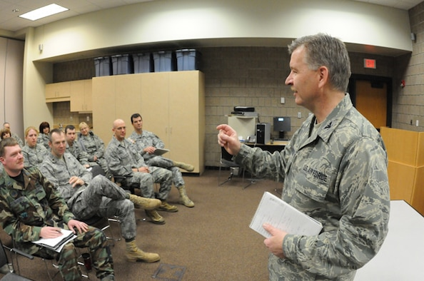 Col. Ron Solberg, the 119th Support Group Commander, right, addresses full-time North Dakota Air National Guard personnel Mar. 15, as he initiates personnel mobilization plans for the regional flood fight beginning in the Red River Valley, Fargo, N.D.  The North Dakota National Guard plan calls for 300-400 personnel to be voluntarily placed on state active duty orders within 24-hours.  The plans provide for all of the same flood fighting missions that the N.D. National Guard provided in the historic flood fight in the spring of 2009.   (DoD photo by Senior Master Sgt. David H. Lipp) (Released)