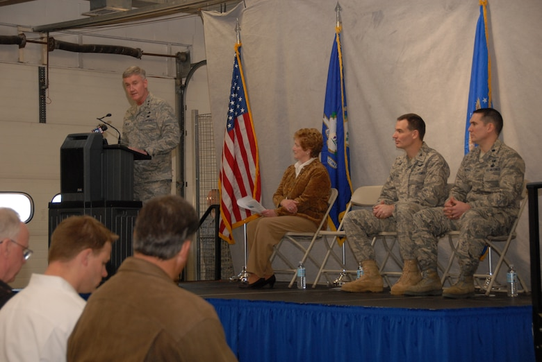 Maj. Gen Thaddeus J. Martin, the adjutant general for the state of Connecticut, addresses guests and members of the 103rd Airlift Wing during a groundbreaking for the Centralized Intermediate Repair Facility at Bradley Air National Guard base in East Granby, Conn. March 6, 2010. Behind the general sits, from left, Connecticut Governor  M. Jodi Rell, Col. Frank N. Detorie, commander of the 103rd Airlift Wing, and Lt. Col. Jerry McDonald, commander,  103rd Maintenance Group. (U.S. Air Force photo by Tech. Sgt. Erin McNamara)