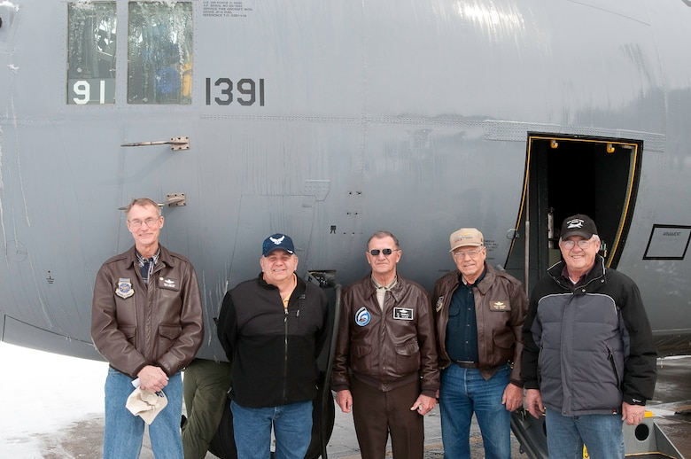 The original  aircrew  members who delivered the factory fresh airplane to the 139th AW in 1987 were passengers on the flight  to transfer it  to the 189th AW, Little Rock, AR.  Pictured are (Ret.), Chief Master Sgt. Gary McIntosh, Senior Master Sgt. Denny Howe, Col. Ken Gabriel, Senior Master Sgt. Lloyd Nauman, and Col. Carl Frikins. Although Senior Master Sgt Denny Howe was not the crew chief of 1391 when it arrived at Rosecrans he was instrumental in refurbishing it after the flood of 1993.  Ret. Col. Bob Agee and original crew chief Master Sgt. Joe Martinowsky were unable to take the flight but where part of the original crew. (U.S. Air Force photo by Maj. Barb Denny/Released)
