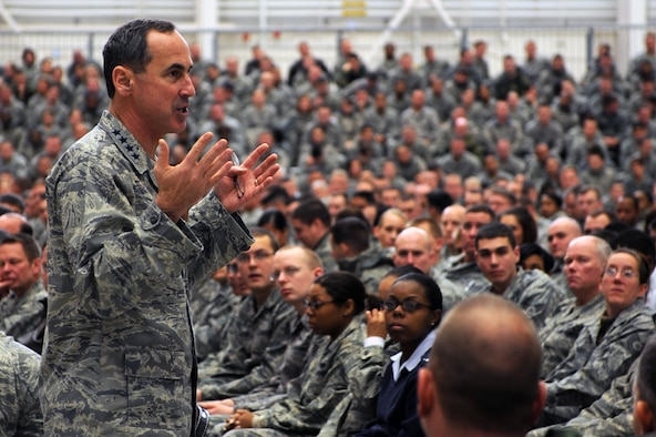 Gen. Raymond E. Johns, Jr., commander of Air Mobility Command, addressed 19th Airlift Wing Airmen during an all-call here Dec. 22. Gen. Johns told Combat Airlifters how important their contributions were to the overall AMC mission. (U.S. Air Force photo by Staff Sgt. Chad Chisholm)