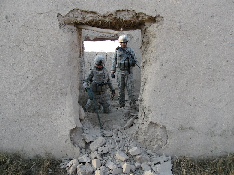 Staff Sgt. Amber Hanlon, 88th Air Base Wing Explosive Ordnance technician,  on patrol in Afghanistan.