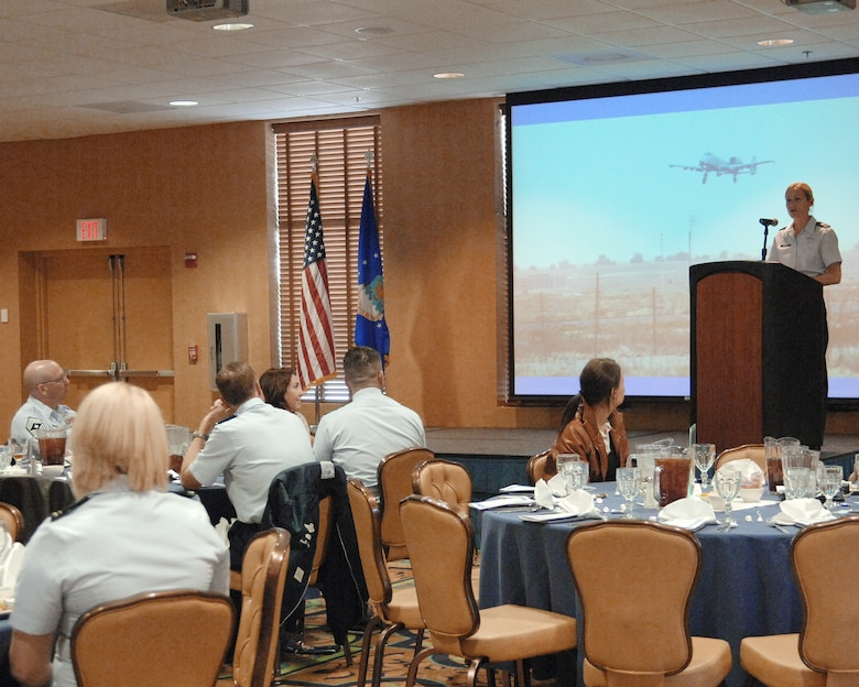 Maj. Kim Campbell spoke to Women's History Month luncheon guests March 15, 2010 at Davis-Monthan Air Force Base, Ariz. She talked about details from the mission in which her A-10 Thunderbolt II was hit by enemy fire over Baghdad in April 2003. Major Campbell successfully completed the mission and safely landed her damaged jet. Major Campbell is from the Det. 3 Training Support Squadron, at Davis-Monthan AFB, Ariz. (U.S. Air Force photo/Staff Sgt. Alesia Goosic)